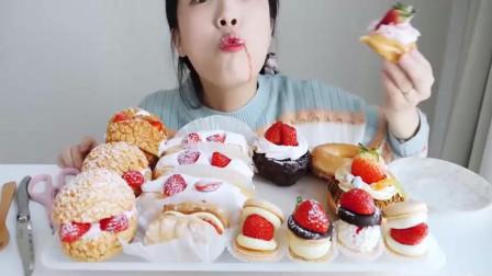 《韩国吃播》草莓甜点吃播,草莓蛋糕,草莓甜甜圈,草莓马卡龙,草莓泡芙。