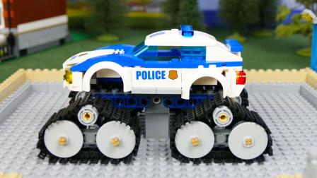 乐高警车巨轮汽车更换零件改装