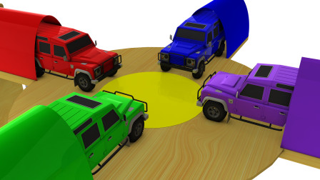 越野车通过大转盘后变成了彩色