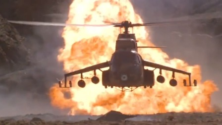 第一滴血3:敌军在直升机上疯狂开火,兵王开坦克撞直升机,超燃