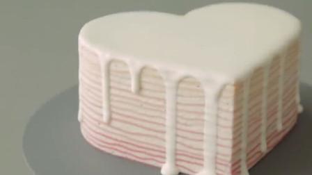 心形渐变草莓千层蛋糕,是温柔少女的感觉了