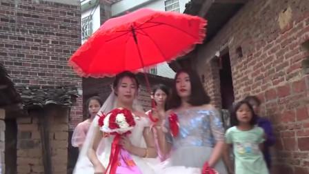 这乡村结婚新娘实在太漂亮了 迎亲是本土习俗