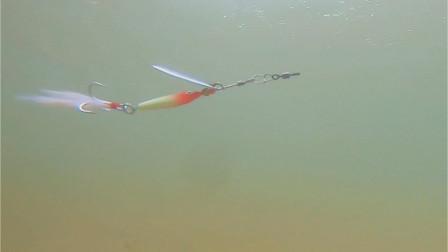 复合旋转亮片的水下泳姿展示,这玩意想让它旋转还真需要点技巧
