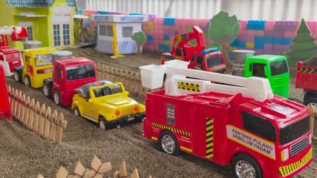 彩色卡车模型玩具运输货物穿过小桥