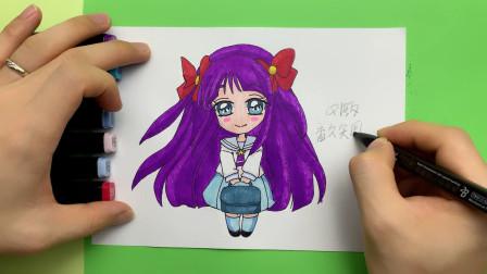 光之美少女动漫人物手绘,Q版香久矢圆香简笔画,很可爱