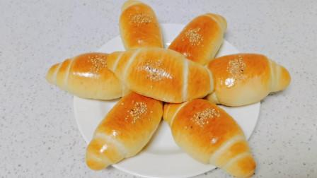 豆沙馅的牛角小面包!这样的做法简单拉丝又好吃!