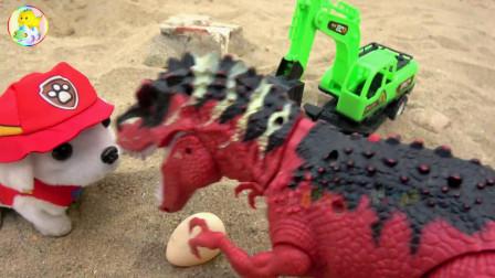 亮亮玩具汽车挖掘机和小狗帮忙找回恐龙蛋,儿童益智卡通,婴幼儿宝宝过家家游戏视频
