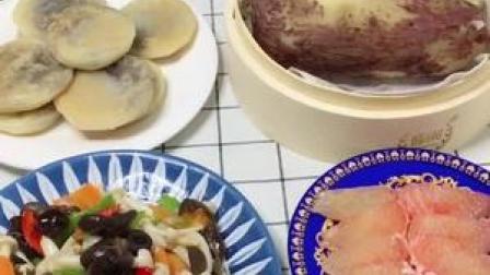早安,糯米饼,炒蘑菇,煮地瓜鸡蛋,白米粥,黑米糊