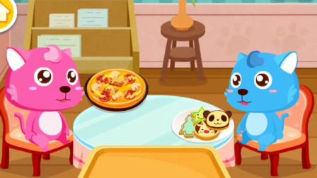 奇妙咖啡餐厅开业啦,小粉猫要吃美味的披萨吗?宝宝巴士游戏