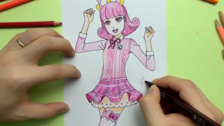 菲梦少女动漫人物手绘:马卡龙组合的队长桃子校服装简笔画