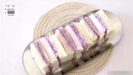 淡紫色真的太治愈了,紫薯芋泥椰奶冻三明治,做法随意味道好