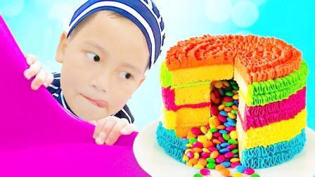 小正太没带生日礼物,想吃哥哥的生日蛋糕,偷偷吃被发现