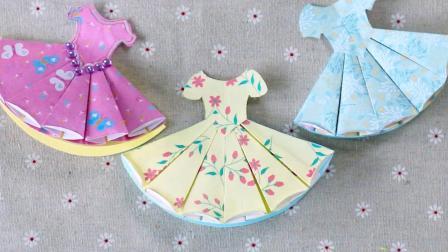 一款漂亮的连衣裙贺卡,打开是立体的拉花,非常小清新!