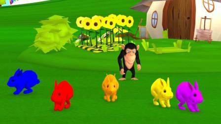 小猴子开着小火车送兔子回农场吃胡萝卜益智动画学颜色