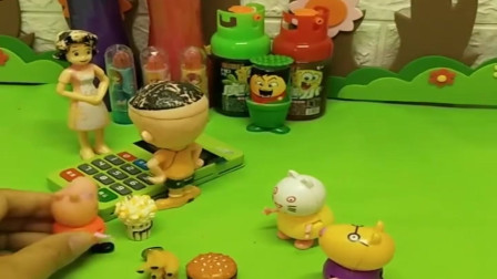 小猪佩奇玩具:大头不想排队,因为收银员是他妈妈,佩奇和他妈妈都不让他插队