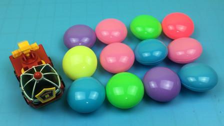 玩具SHOW变形警车珀利 第一季 消防员罗伊玩彩色巧克力蛋