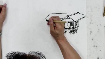 山水画教程:点景茅棚的画法 小小景物点睛之笔