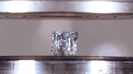 液压机vs钻石!破碎的过程,看得太过瘾了