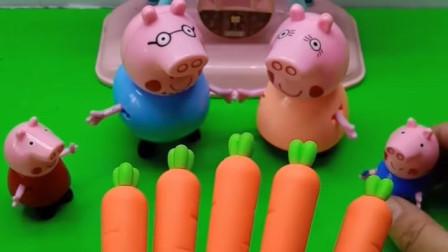 乔治着急吃胡萝卜,可胡萝卜怎么咬不动?乔治不想要这个胡萝卜了