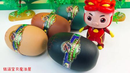 猪猪侠分享恐龙蛋玩具蛋!认识了五角龙