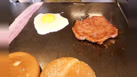 芝士培根蛋汉堡,韩国街边小吃