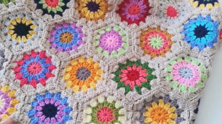 「钩针编织」漂亮的彩花毛毯!