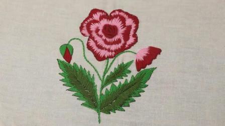 手工刺绣教程,简单玫瑰花的刺绣方法!