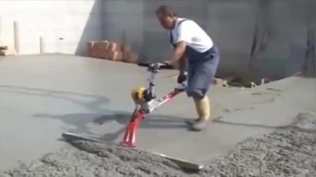 牛人发明的水泥地面抹平机,简直是建筑工人的福音!
