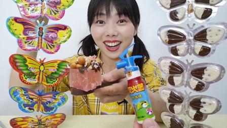 """美食开箱:小姐姐吃""""蝴蝶巧克力饼干"""",缤纷颜值高,酥脆柔滑甜"""