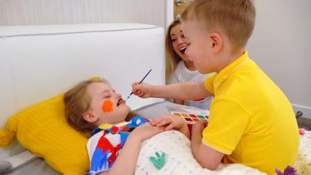 萌娃小可爱被哥哥和妈妈给捉弄得好惨呀!小家伙快醒醒啊!—萌娃:哼!你们俩太坏啦!