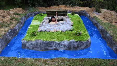 国外达人在地下室周边搭建泳池,完工以后,立马出售100000元!