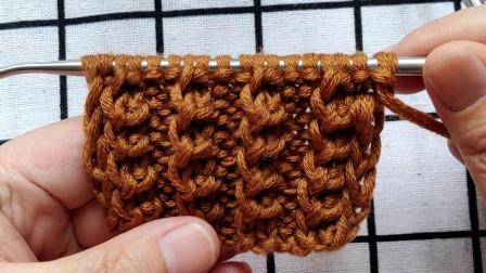 条纹玉米花,新手也可以编织,适合编织各种款式毛衣的衣边和领边