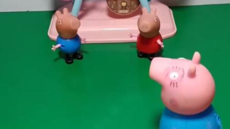 乔治佩奇都想和爸爸去游乐场,猪爸爸交给他们个任务,猪爸爸该带谁去?