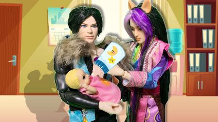 叶罗丽故事 颜爵和荒石捡到小婴儿 当奶爸给小宝宝喂奶换尿布