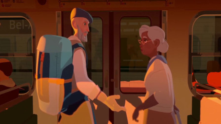 温馨幽默动画,一段火车上的爱情故事,到站俩人已满头白发!