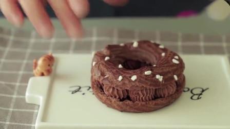 这么漂亮的巧克力泡芙甜甜圈,是做给什么人吃的,能吃到它的人太幸福了