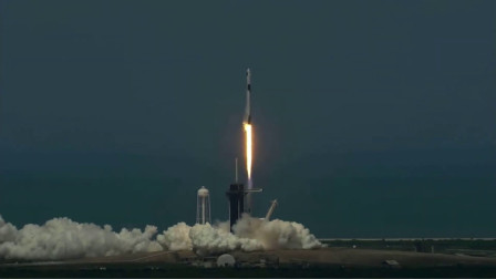 美国历史性的火箭猎鹰9号载人飞船发射以及分离视频