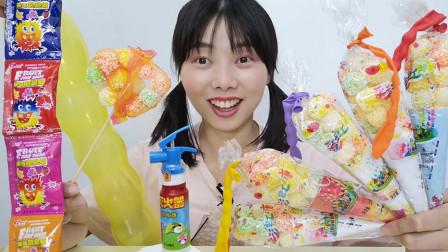 """美食开箱:小姐姐""""冰淇淋彩虹麻花粒""""新吃法,先卷后喷还撒糖赞"""