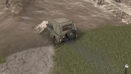 旋转轮胎:吉普车太小了,开进下河瞬间被河水淹没
