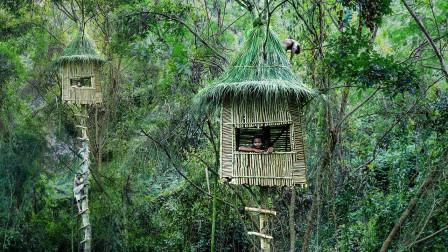"""小哥和家中""""母老虎""""吵架,一怒之下离家出走,树上搭建隐秘别墅!"""