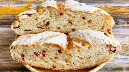 自制蔓越莓脆皮面包,不用揉面零添加,好吃又简单家人都喜欢