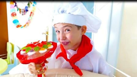 美国儿童时尚,小萝莉和厨师做水果蛋糕花,真棒呀