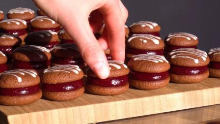 神奇好玩的夹心饼干制作:1分钟能挤几十块!夹上厚厚果酱巨诱人