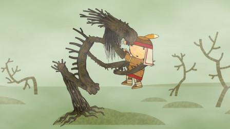 小男孩被树妖抓获,于是骗树妖是龙,结果它真能一飞冲天