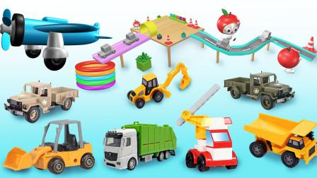 工程车动画,教宝宝认识工程车挖掘机推土机玩具英语,早教智力开发