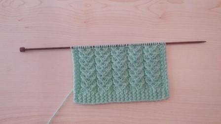棒针编织教程,心形花纹图案的编织方法!