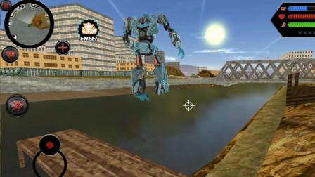 变形机器人英雄,鲨鱼机器人潜水偷袭,被BOSS一炮反杀 走走云解说