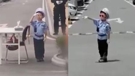 """山东青岛:有模有样!爱吃小熊饼干的""""交警""""上岗啦"""