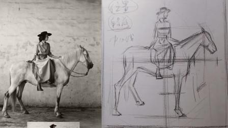 《诗与远方》素描主题画画怎么快速有效画复杂的构图第一步画形和理解观察方法-大树老师素描公开课系列