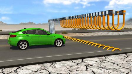 用巨型U形阵拦截高速汽车会怎样?3D动画模拟全程,场面超燃